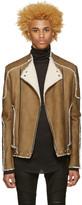 Balmain Beige Shearling Biker Jacket