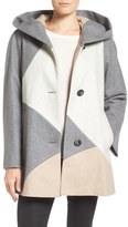 Gallery 'Puzzle' Wool Blend Hooded Colorblock Coat