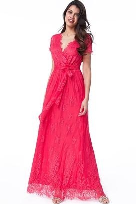 Goddiva Hot Pink Scalloped Hem Lace Maxi Dress