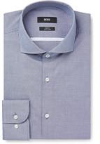 Hugo Boss - Blue Jerrin Slim-fit Cutaway-collar Micro-gingham Cotton Shirt