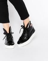 Minna Parikka Black Leather Bunny Ears High Top Sneakers