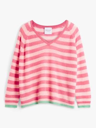 Trilogy Cashmere Stripe V-Neck Jumper, Pink Marl/Candy/Jade