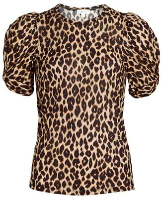 A.L.C. Kati Leopard Print Puff-Sleeve T-Shirt