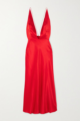 MATÉRIEL Open-back Silk-satin Midi Dress - Red