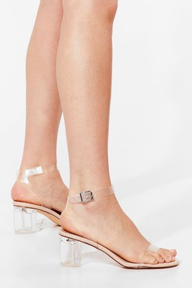 Nasty Gal Womens Make Thing's Clear Block Heel Sandals - Nude