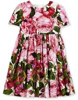 Dolce & Gabbana Short-Sleeve Smocked Rose Dress, Pink, Size 8-12