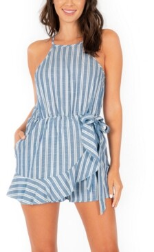 Speechless Juniors' Striped Faux-Wrap Romper