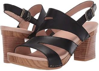Dansko Ashlee (Black Burnished Calf) Women's Dress Sandals