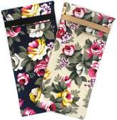 Global Glasses 2 PACK Soft Cloth Lady Floral Eyeglass or Sunglasses Pouch Case BDH11 (Flower)