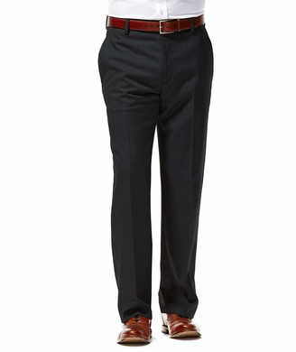 Kenneth Cole Reaction Men's Stretch Sharkskin Plaid Flat Front Slim Fit Pant