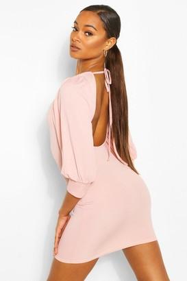 boohoo Rib Open Back Mini Dress
