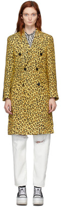 R 13 Yellow Leopard Peak Lapel Trench Coat