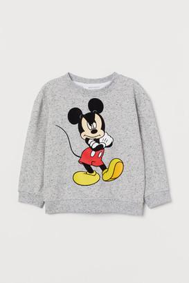 H&M Flock-print Sweatshirt - Gray