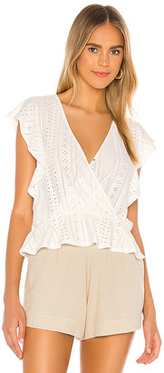 BCBGeneration Surplice Ruffle Sleeve Knit Top