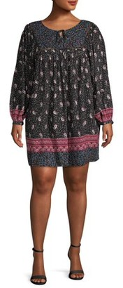 Romantic Gypsy Women's Plus Size Long Sleeve Peasant Dress
