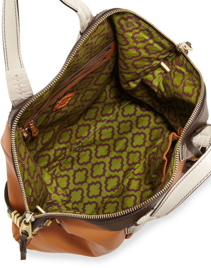 Oryany Cassie Colorblock Whipstitch Panel Tote, Khaki