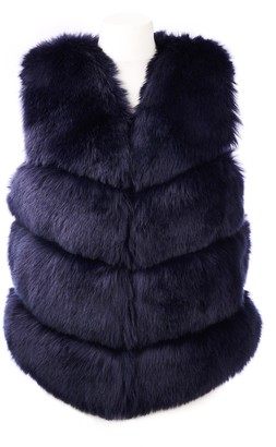 Popski London Faye Faux Fur Gilet In Navy