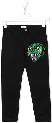 Gucci Kids Roaring Tiger Patch Jeans