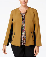 Kasper Plus Size Stretch-Contrast Blazer