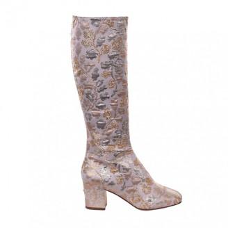Dolce & Gabbana Gold Polyester Boots