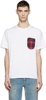 Mostly Heard Rarely Seen White Plaid Pocket T-Shirt