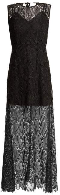 Diane von Furstenberg Leaf And Floral Macrame Lace Sleeveless Gown - Womens - Black