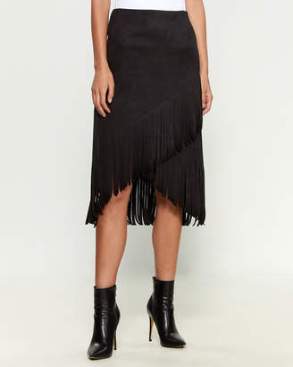 Necessary Objects Faux Suede Asymmetric Fringe Skirt