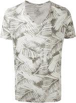 Majestic Filatures printed v-neck T-shirt - men - Linen/Flax - S