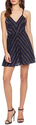 Cosmo X Dress The Population Trista Metallic Stripe Fit & Flare Mini Dress