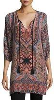 Tolani Nova Long Printed Silk Tunic, Coral, Plus Size