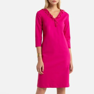 Anne Weyburn Mid-Length Shift Dress with Long Sleeves