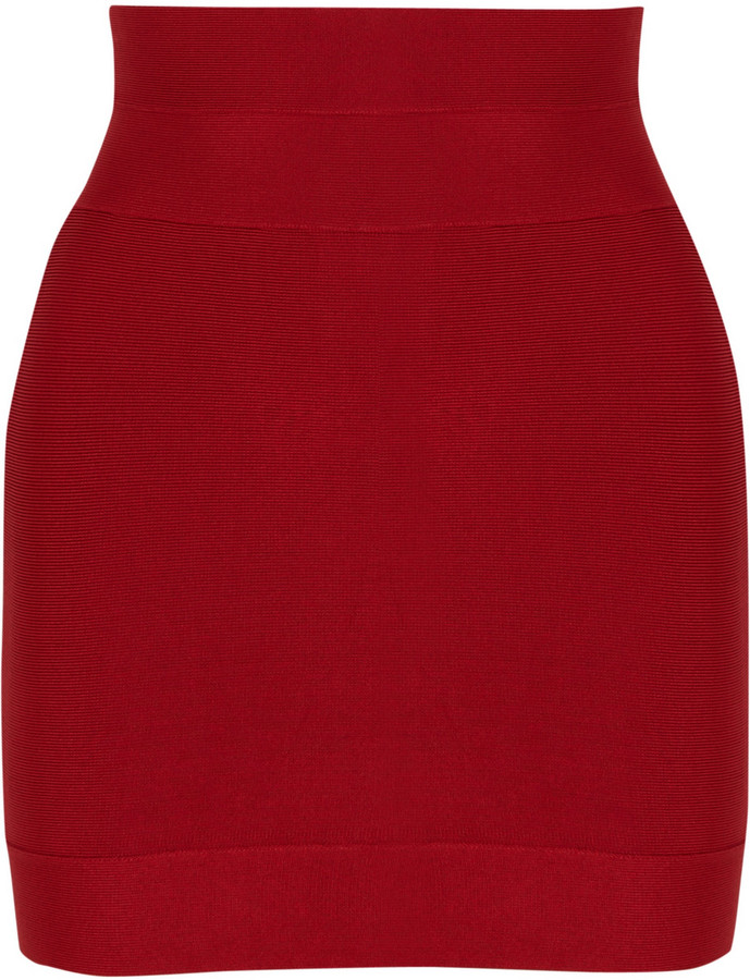 Herve Leger High-rise bandage mini skirt