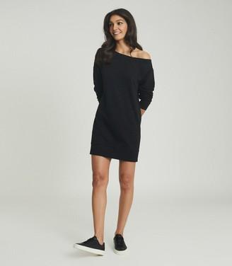 Reiss PORTIA OFF-THE-SHOULDER SWEATSHIRT DRESS Washed Black