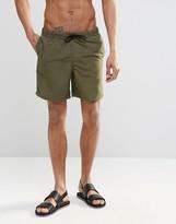 Asos Swim Shorts In Khaki Mid Length