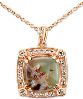 "LeVian Le Vian Peacock Aquaprase (10mm) & Vanilla Topaz (1/4 ct. t.w.) 20"" Pendant Necklace in 14k Rose Gold"