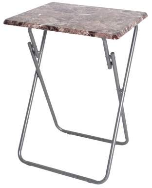 American Dream Home Goods Storage Solutions 19 inch Marble Folding Veneer Snack Table TV Tray Computer Desk