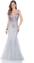 Terani Couture Lovely Beaded V-neck Mermaid Tulle Gown 1611GL0483