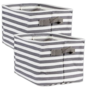 Design Imports Polyethylene Coated Herringbone Woven Cotton Laundry Bin Stripe Rectangle Small Set of 2