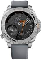 HUGO BOSS 1513208 Men's Oversized Sao Paulo, stainless steel case, black dial with Arabic index, grey silicone strap