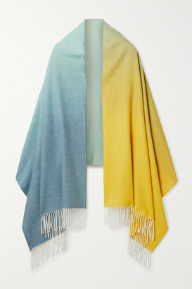 Johnstons of Elgin Fringed Degrade Cashmere Scarf - Blue