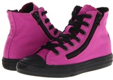 Converse Chuck Taylor All Star Double Zipper Hi (Little Kid/Big Kid) (Vivid Viola/Jet Black) - Footwear