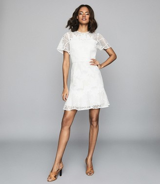 Reiss DAMARA LACE MINI DRESS White