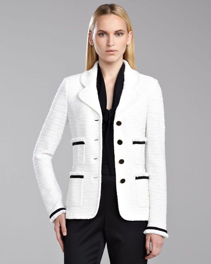 St. John Grosgrain Ribbon Shantung Jacket, White/Caviar
