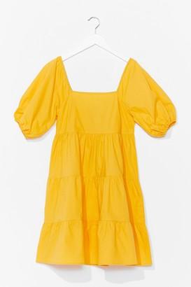 Nasty Gal Womens Tiers to the Weekend Puff Sleeve Mini Dress - Yellow - 10, Yellow