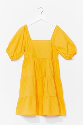 Nasty Gal Womens Tiers to the Weekend Puff Sleeve Mini Dress - Yellow
