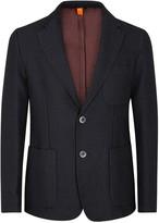 Barena Navy Jacquard-knit Cotton Blend Jacket
