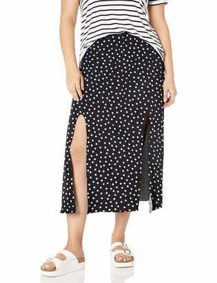 Star Vixen Women's Plus-Size Modest Soft Knit Pull-On Midi-Length Skirt