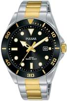 Pulsar Pulsar Black Sunray and Gold Detail Date Dial Two Tone Stainless Steel Bracelet Mens Watch