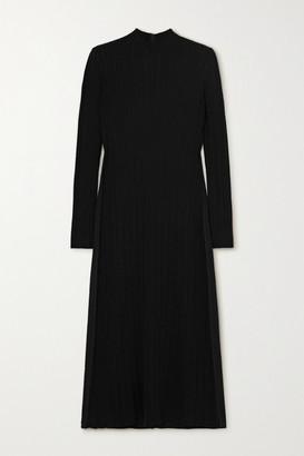 Vince Ribbed-knit And Crepe Turtleneck Midi Dress - Black