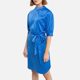 La Redoute Collections Satin Polka Dot Mini Dress with Elbow Length Sleeves and Tie-Waist